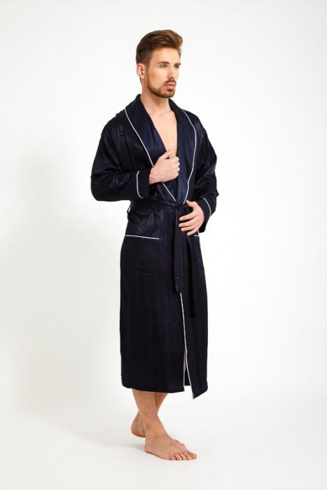 10fa4224afb1 Темно-синий шелковый мужской халат